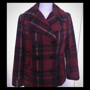 Old Navy Plaid Red Peacoat